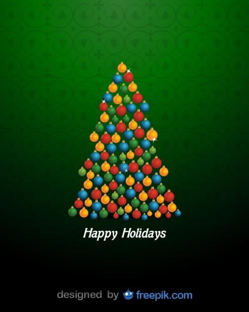 Felices fiestas con un rbol de navidad hecho con bolas de - Bolas de arbol de navidad ...