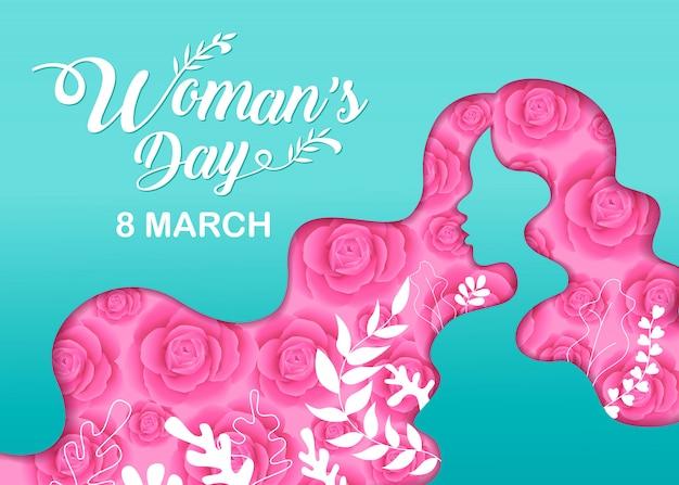 Felices fiestas del día de la mujer Vector Premium