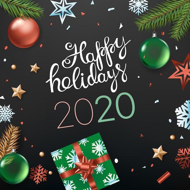 Felices fiestas tarjeta 2020 Vector Premium