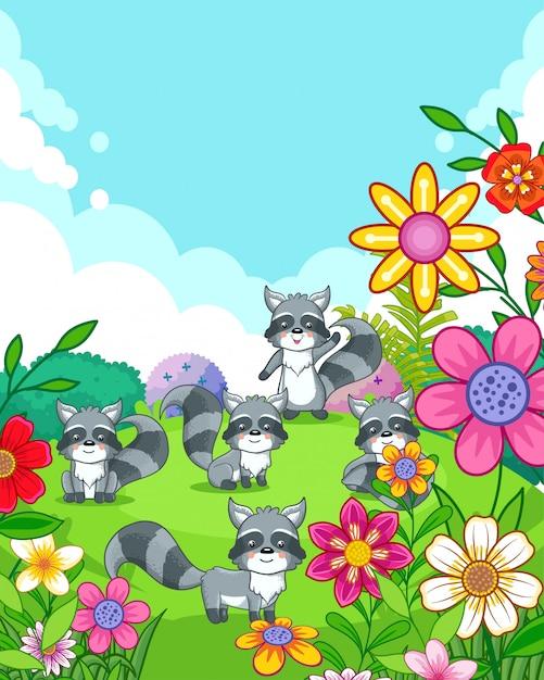 Felices lindos mapaches con flores jugando en el jardín Vector Premium