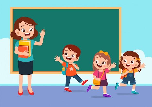 Felices los niños lindos van a casa desde la escuela Vector Premium