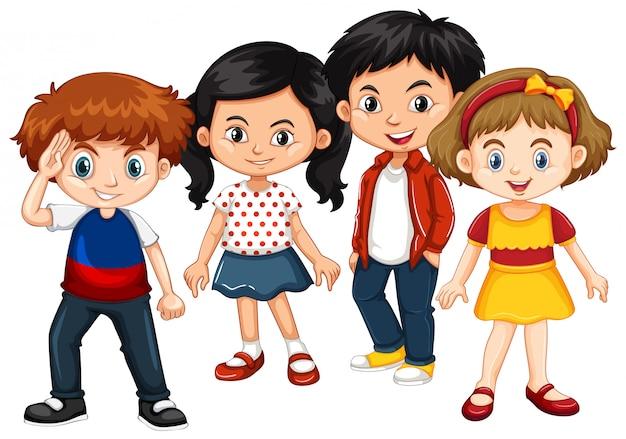 Felices niños y niñas juntos. vector gratuito