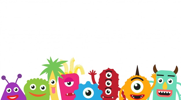 Felices pandillas de monstruos de dibujos animados lindo sobre fondo blanco Vector Premium