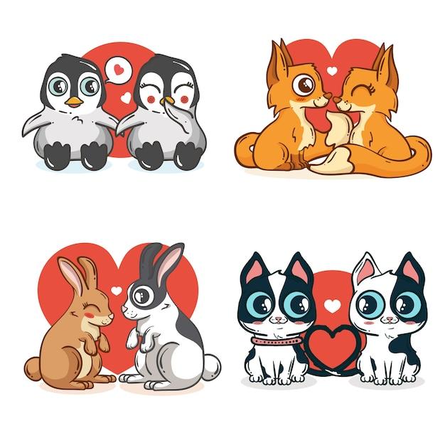 Felices parejas de animales encantadores para san valentín vector gratuito