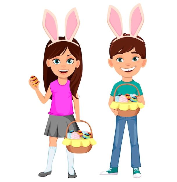 Felices pascuas. niños lindos con orejas de conejo Vector Premium