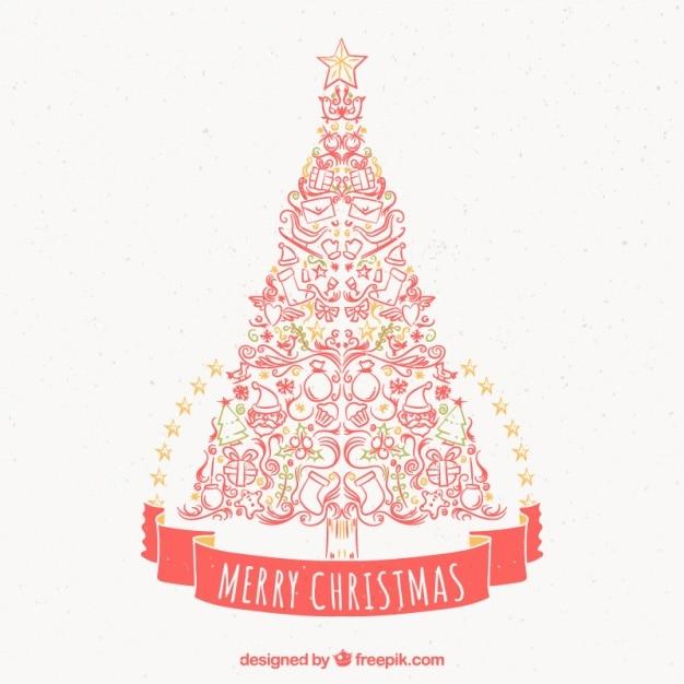 felicitacin de rbol de navidad hecho de elementos decorativos dibujados a mano vector gratis