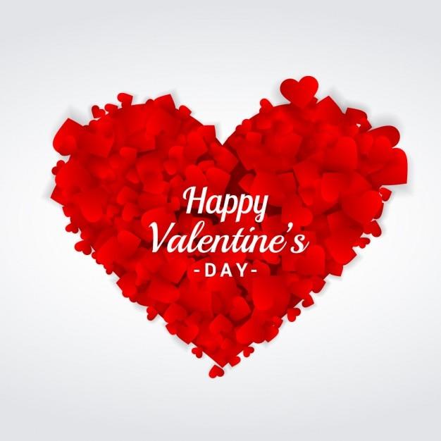 Felicitación De Día De San Valentín Con Corazón Hecho Con Corazones