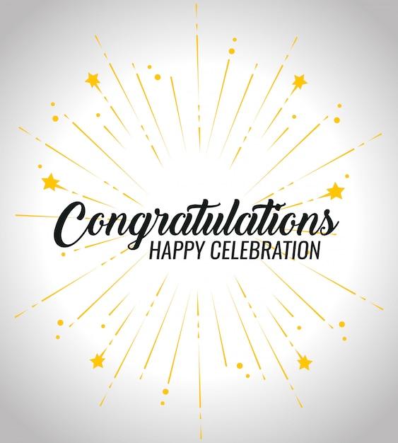 Felicitación feliz celebración de eventos con decoración de estrellas vector gratuito