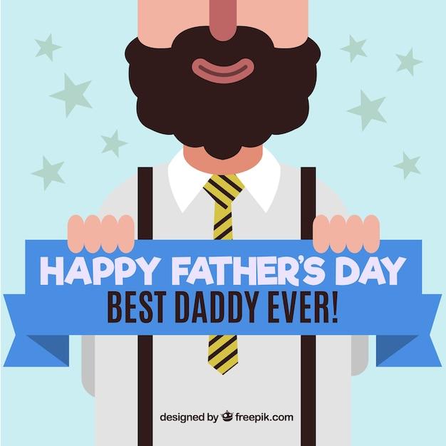 Felicitación simpática del día del padre en diseño plano  Vector Gratis