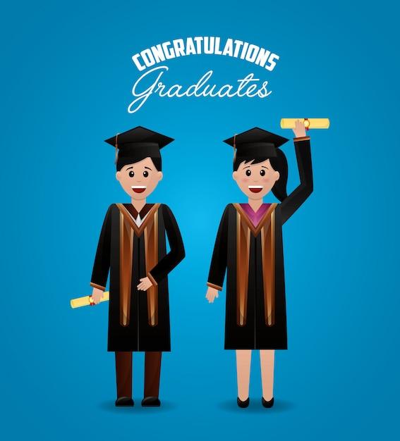 Felicitaciones fondo de graduación vector gratuito