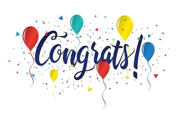 Felicitaciones tipografía letras manuscritas tarjeta de felicitación banner Vector Premium