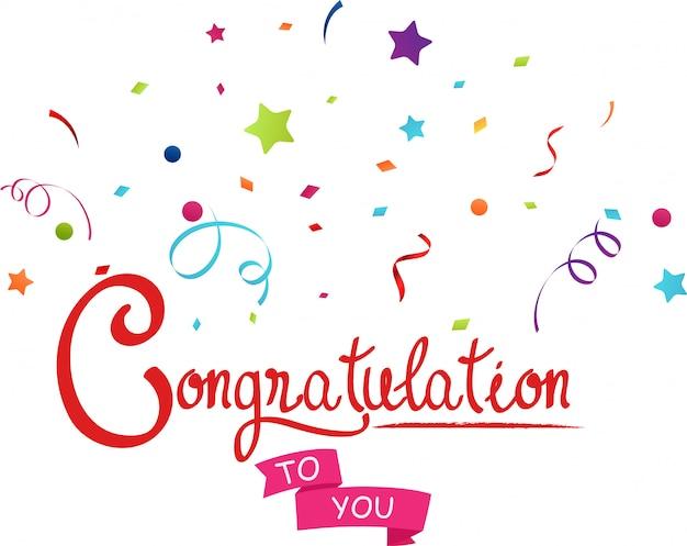 Felicitaciones a usted con confeti. Vector Premium