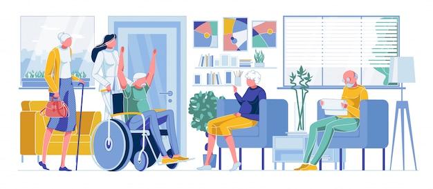 Feliz anciano discapacitado, ancianos haciendo cola al médico Vector Premium