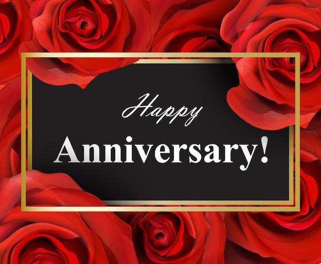 feliz aniversario rosas rojas fondo descargar vectores premium