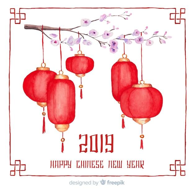 Feliz año chino 2019 vector gratuito