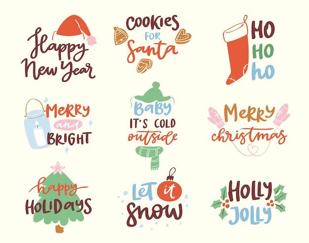 Feliz año nuevo 2018 logotipo de texto insignia letras calendario de vacaciones imprimir feliz navidad fiesta de recién nacido ilustración Vector Premium