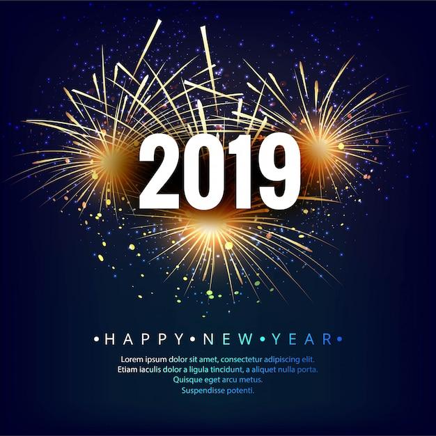 Feliz año nuevo 2019 celebración tarjeta fondo colorido vector gratuito