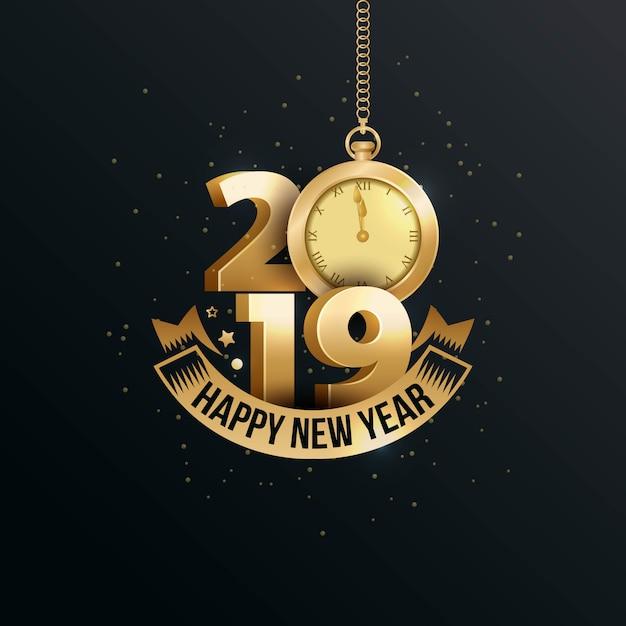 Feliz año nuevo 2019 con oro número 3d Vector Premium