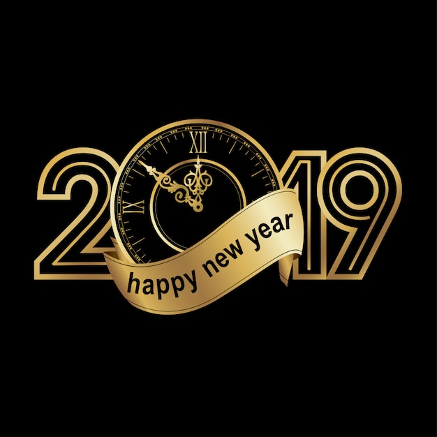 Feliz año nuevo 2019 Vector Premium