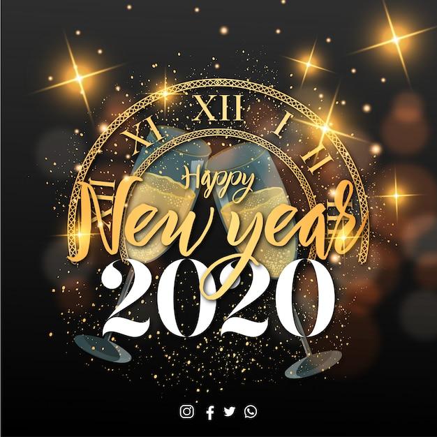 Feliz año nuevo 2020 banner con elementos de navidad vector gratuito