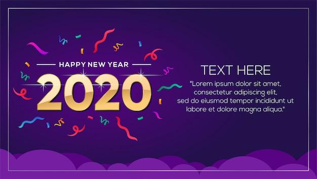 Feliz año nuevo 2020 banner plantilla de fondo Vector Premium