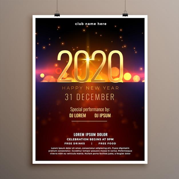 Feliz año nuevo 2020 celebración flyer o plantilla de póster vector gratuito