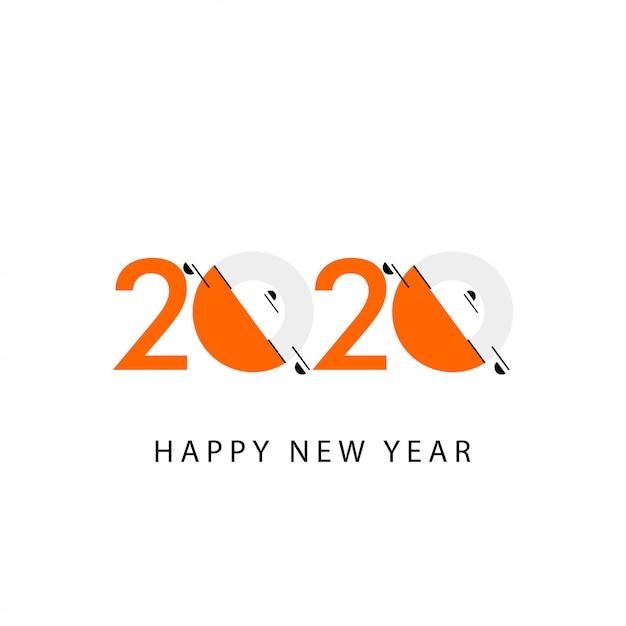 Feliz año nuevo 2020 celebración ilustración Vector Premium
