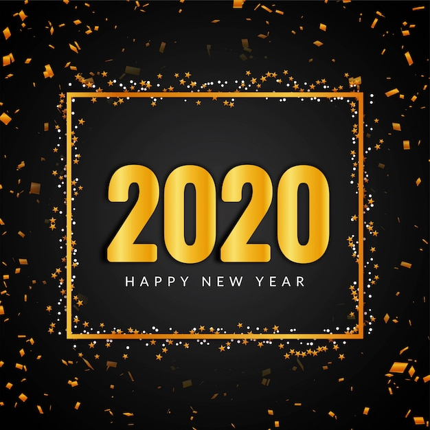 Feliz año nuevo 2020 confeti Vector Premium