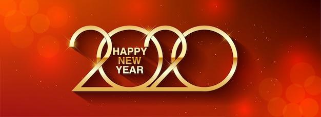 Feliz año nuevo 2020 diseño de texto ilustración de saludo con números dorados Vector Premium