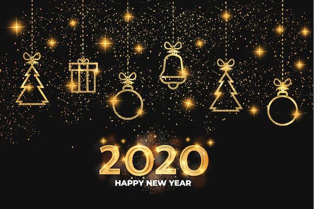 Feliz año nuevo 2020 dorado vector gratuito