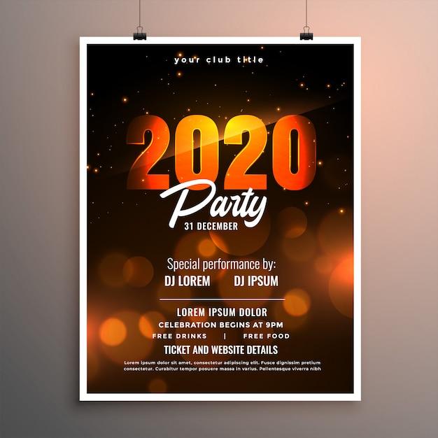 Feliz año nuevo 2020 fiesta celebración folleto o plantilla de póster vector gratuito