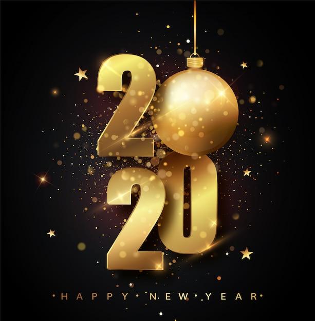 Feliz año nuevo 2020. fiesta de los números metálicos dorados 2020. números de oro de la tarjeta de felicitación de falling shiny confetti. carteles de año nuevo y navidad. Vector Premium