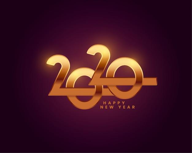 Feliz año nuevo 2020 fondo de pantalla de texto dorado vector gratuito