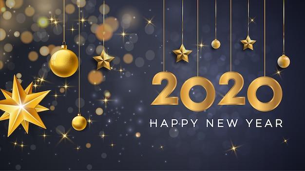 Feliz año nuevo 2020 fondo premium Vector Premium