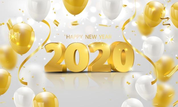 Feliz año nuevo 2020 fondo. Vector Premium