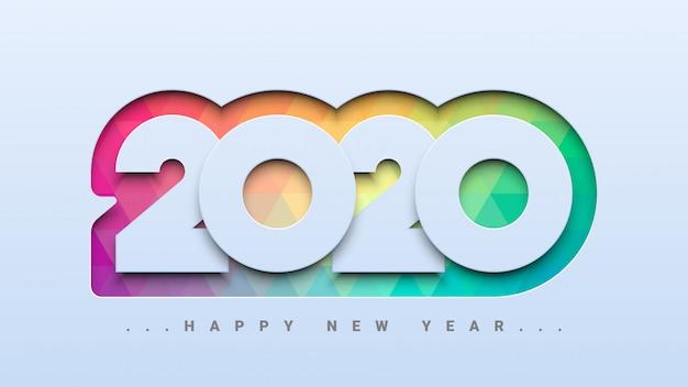 Feliz año nuevo 2020 fondo Vector Premium