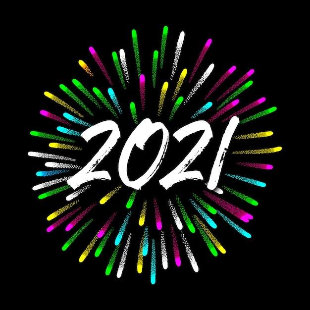 Feliz año nuevo 2020 con fuegos artificiales Vector Premium