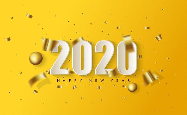 Feliz año nuevo 2020 con ilustraciones de figuras 3d en blanco y trozos de papel dorado esparcidos en amarillo Vector Premium