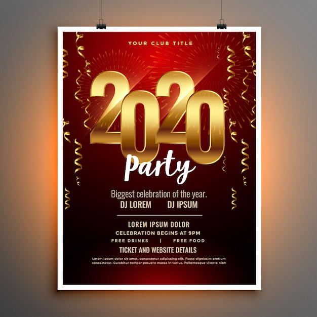Feliz año nuevo 2020 invitación folleto o plantilla de póster vector gratuito