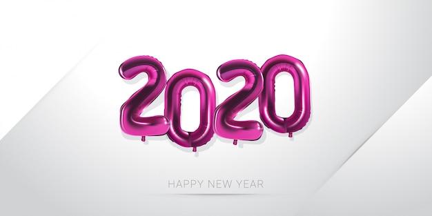 Feliz año nuevo 2020 con número de globo en blanco Vector Premium