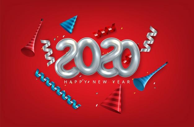 Feliz año nuevo 2020. números de papel 3d en blanco topografía abstracta. Vector Premium
