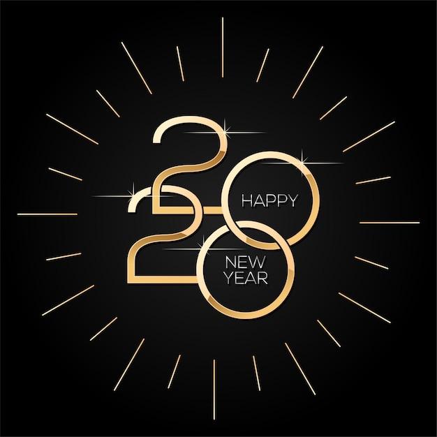 Feliz año nuevo 2020, plantilla cuadrada minimalista con texto dorado en negro Vector Premium