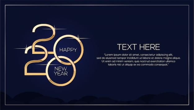 Feliz año nuevo 2020, plantilla minimalista con texto dorado Vector Premium