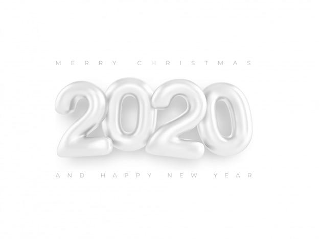 Feliz año nuevo 2020 plantillas números blancos Vector Premium