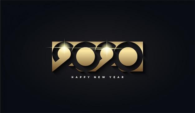 Feliz año nuevo 2020, rectángulo dorado con el fondo número 2020 Vector Premium