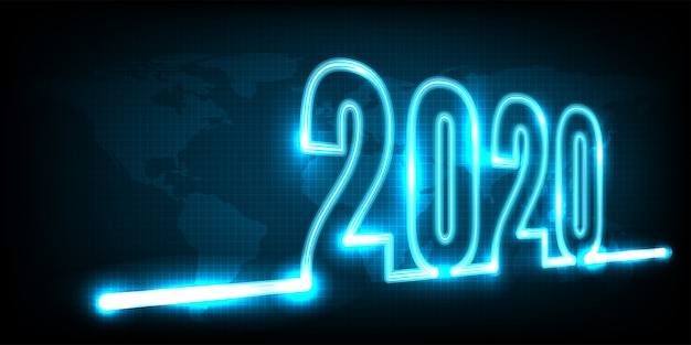 Feliz año nuevo 2020. resumen de tecnología con luz de neón brillante en la tierra Vector Premium