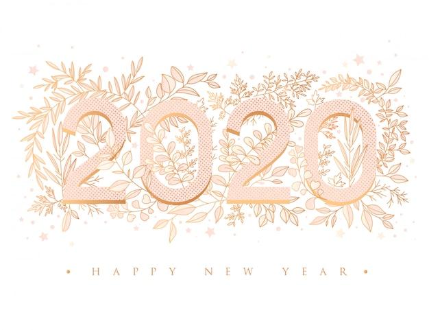 Feliz año nuevo 2020 tarjeta de felicitación floral Vector Premium