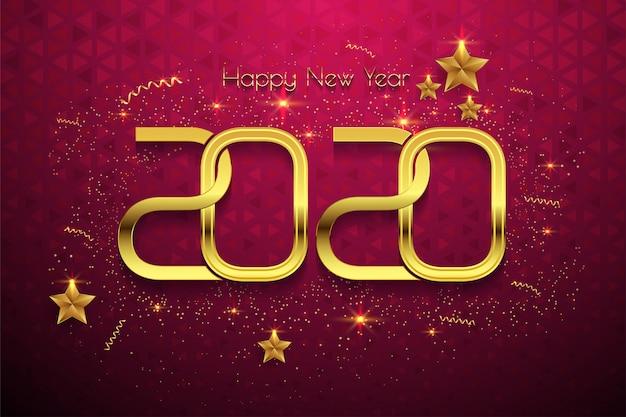Feliz año nuevo 2020 texto dorado sobre fondo rojo Vector Premium
