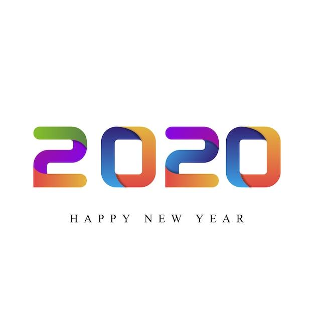 Feliz año nuevo 2020 tipografía Vector Premium