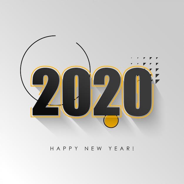 Feliz año nuevo 2020 vector de ilustración de fondo Vector Premium